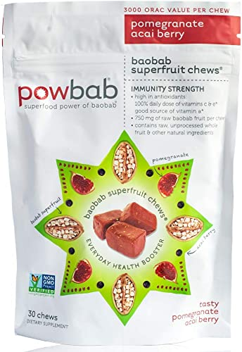 Powbab Baobab Superfruit Chews – 750mg Raw Baobab Powder Organic. Natural Immune Booster, 100 Antioxidants for Cold Season Anti Aging, Acai Pomegranate. Non GMO, Gluten Free. Real Superfood, 30 Chews