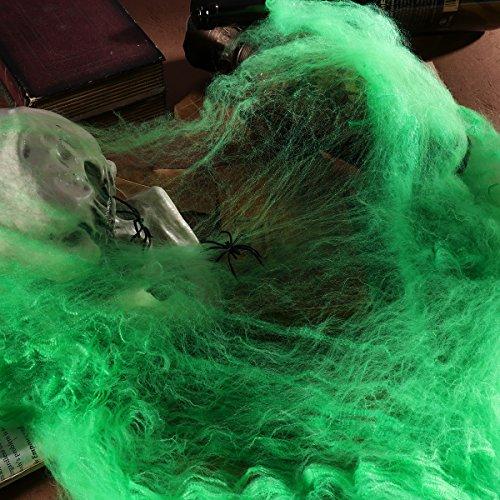 BESTOYARD 6 Pcs Spooky Halloween Stretch Toile d'araignée Sanglant avec Maison hantée décoration Prop avec Sanglant 2 araignées (Vert) f2472a