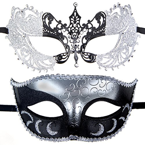 Couples Pair Evening Prom Venetian Masquerade Masks Set Party Costume Accessory (Silver&Black)