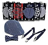#4: Selini Boys' Formal Set Including Ivy Cap, Suspenders, and Matching Bow Tie, Ages 4-7