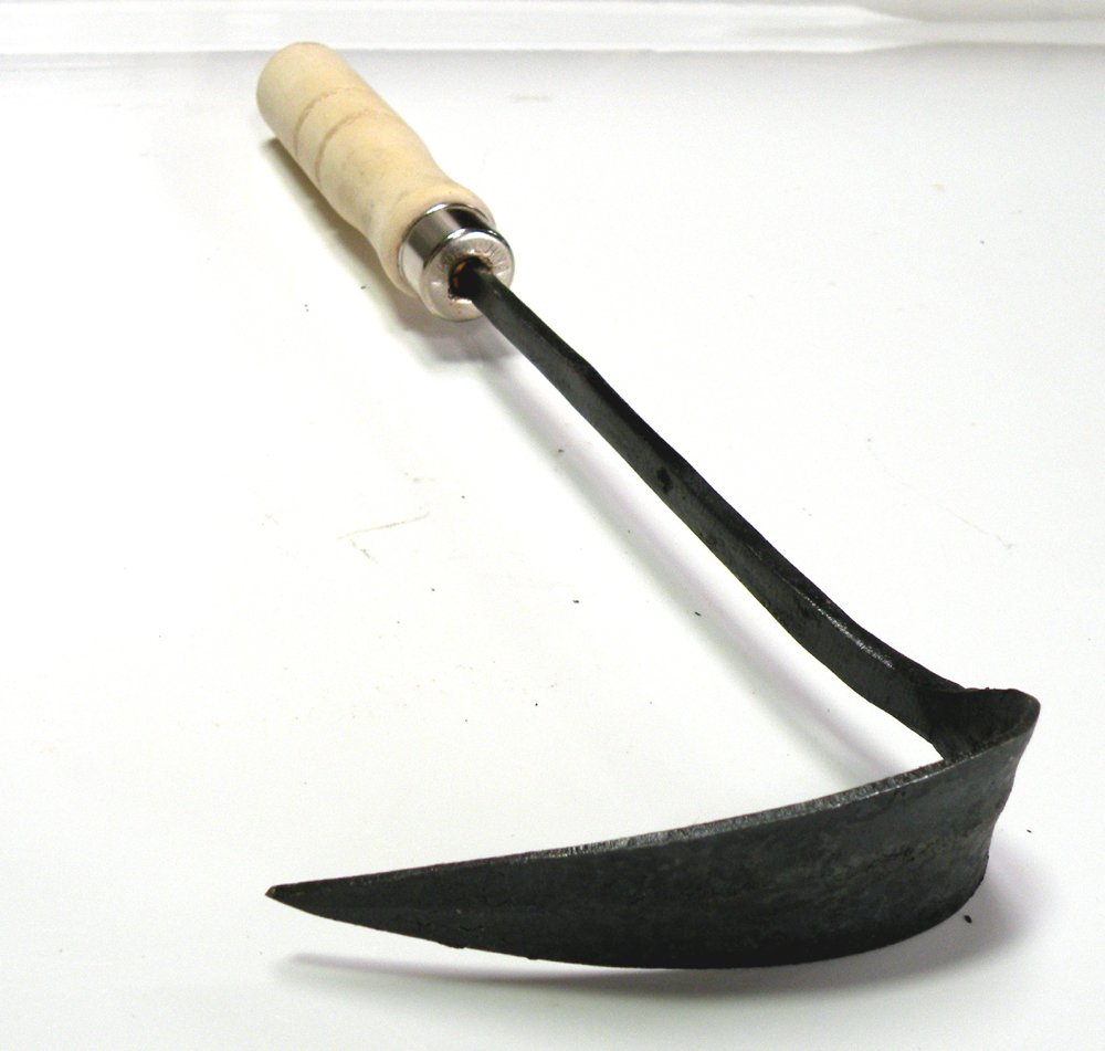 Professional Rail Cast Iron Hand Plow Hoe,Furrowing Hoe .Hand Plow Sickle Hoe,Great for Digging, Cultivating and Setting Bulbs,Plow-Shaped Blade Made From Tempered Boron Steel for Durable Use.