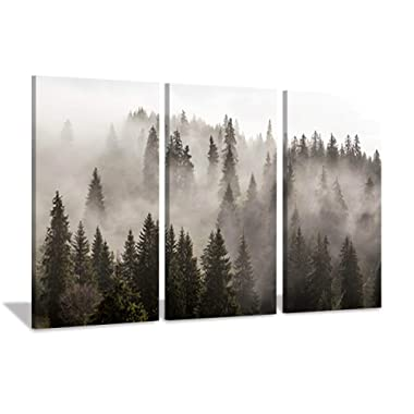 Natural Landscape Wall Art Paintings: Photographic Artworks Dark Tree line with Foggy Misty Forest Pine Print on Wrapped Canvas for Decoration, Multi-Piece Image (16 x26 x3, Gray Wall Decor)