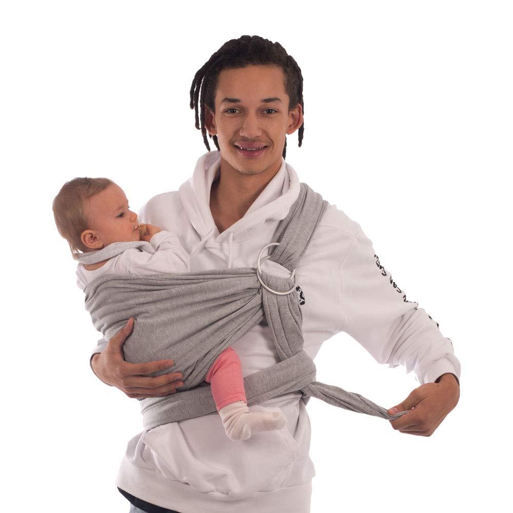 Babytrage /& Tragehilfe mit Trageanleitung Ergobaby BabyBino Wickeltuch das perfekte Geschenk.grau Elastisches Baby Tragetuch mit Aluminium-Ringe f/ür Neugeborene Babytragetuch /& Ring Sling 2 in1