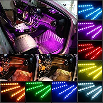 Car Charger Included Adecorty Car LED Strip Light 4pcs 72 LED DC 12V Multicolor Music Car Interior Light LED Under Dash Lighting Kit with Sound Active Function and Wireless Remote Control