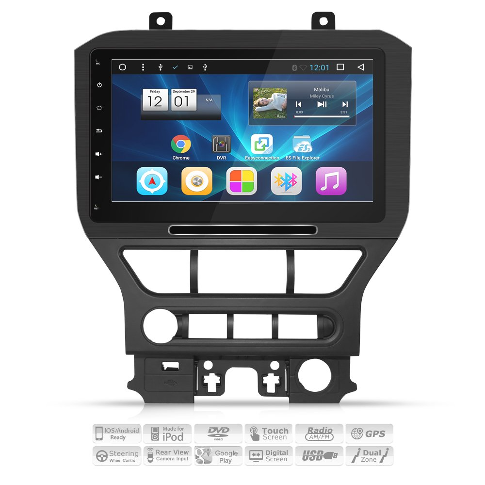 """[ALUMINUM ALLOY PANEL] AIMTOM 2015-2018 Ford Mustang In-dash GPS Navigation 10.1"""" IPS Touch Screen Bluetooth Stereo Android 7.1 FM AM Radio USB DVD Multimedia Car Player Built-in Wi-Fi Head Unit"""