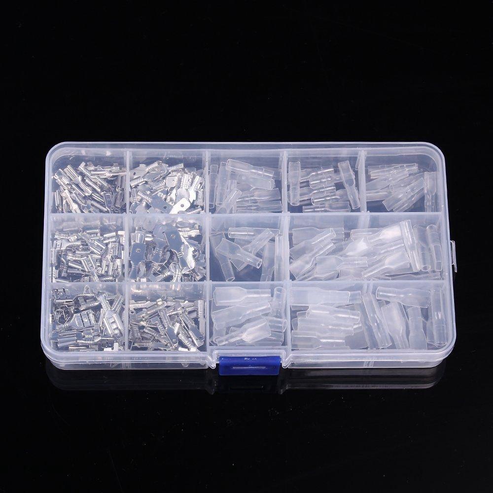 Semoic 270 pcs Male Femelle Spade Connecteur Fil A Sertir Bloc De Borne avec Isolation Manches Assortiment Kit 2.8mm 4.8mm 6.3mm