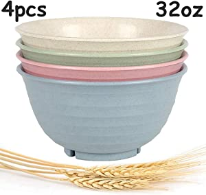Wheat Straw Plastic Bowls-unbreakable-reusable- Microwave- Dishwasher Safe Cereal Bowl/Dinnerware Set/Bpa Free,Eco Friendly/perfect For Soup Rice Noodle Ramen Salad and Pasta,Large 32 Ounce X4pcs