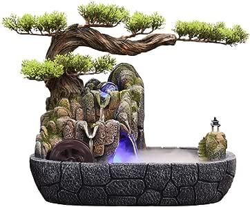 Fuentes de Interior Zen Fuente de Interior Cubierta 2-Tier Fuente de Agua y Resina de Pino Decorativa del árbol Fuente de Escritorio de sobremesa Decorativa con Bomba Sumergible Cascada de Escritorio: Amazon.es: