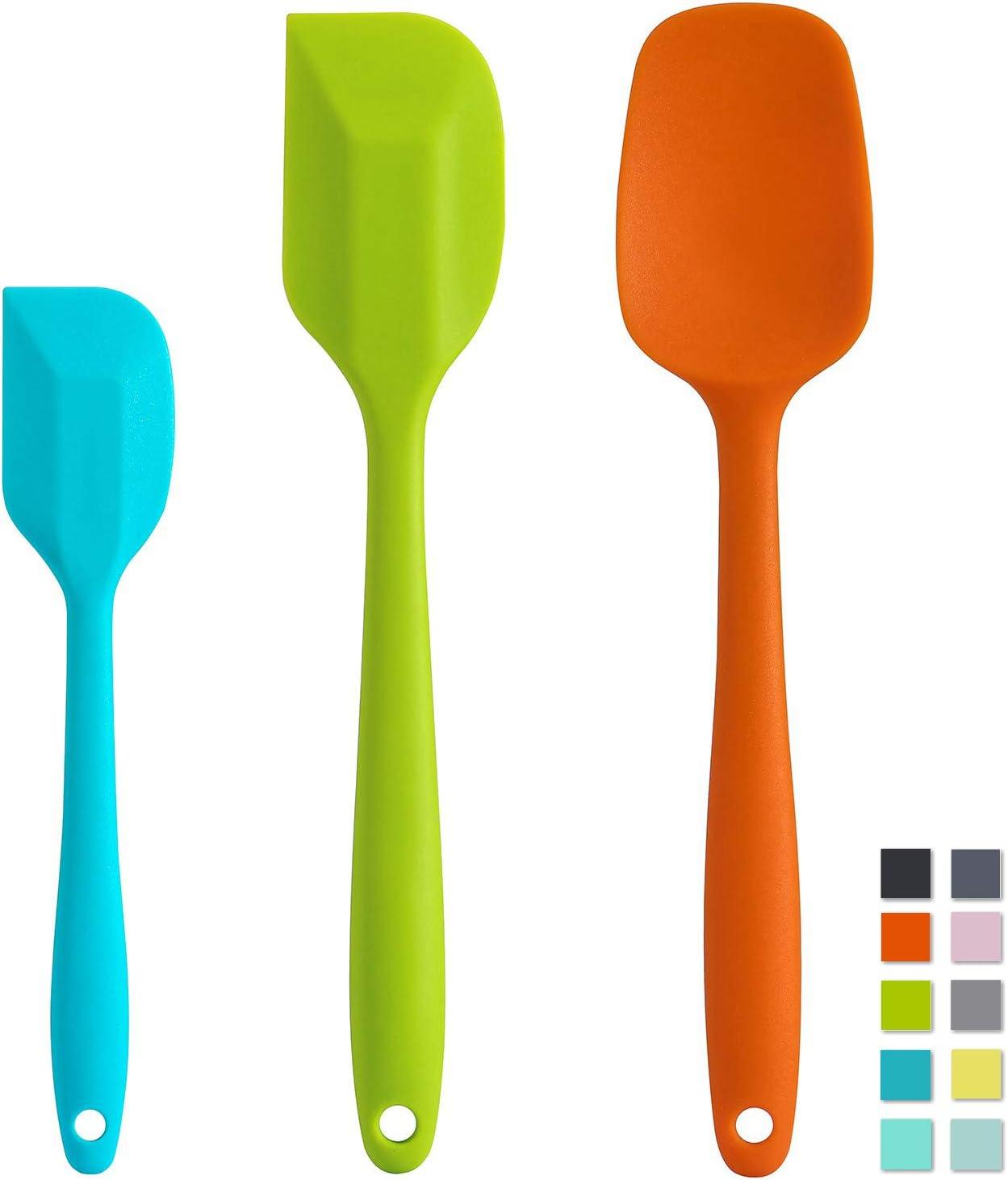 Cooptop Silicone Spatula Set - Rubber Spatula - Heat Resistant Baking Spoon & Spatulas - Pro Grade Non-stick Silicone with Steel Core (Multicolor)