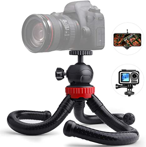 Mini Octopus Flexible Tripod Holder with Ball Head /& Phone Clamp +Tripod Mount Adapter /& Long Screw for SLR Cameras Size: 30cmx5cm Durable GoPro Cellphone