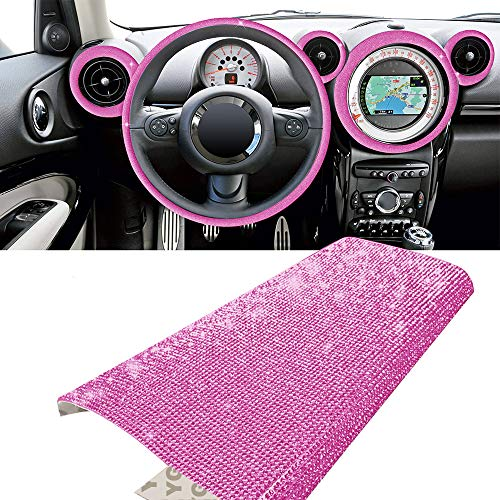 YGMONER Bling Crystal Rhinestone DIY Car Decoration Sticker, Available in Eleven Colors! 9.4 x 7.9'' (hot Pink)