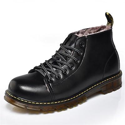 ailishabroy Botas de nieve de invierno para hombres Cuero negro Oxfords calientes