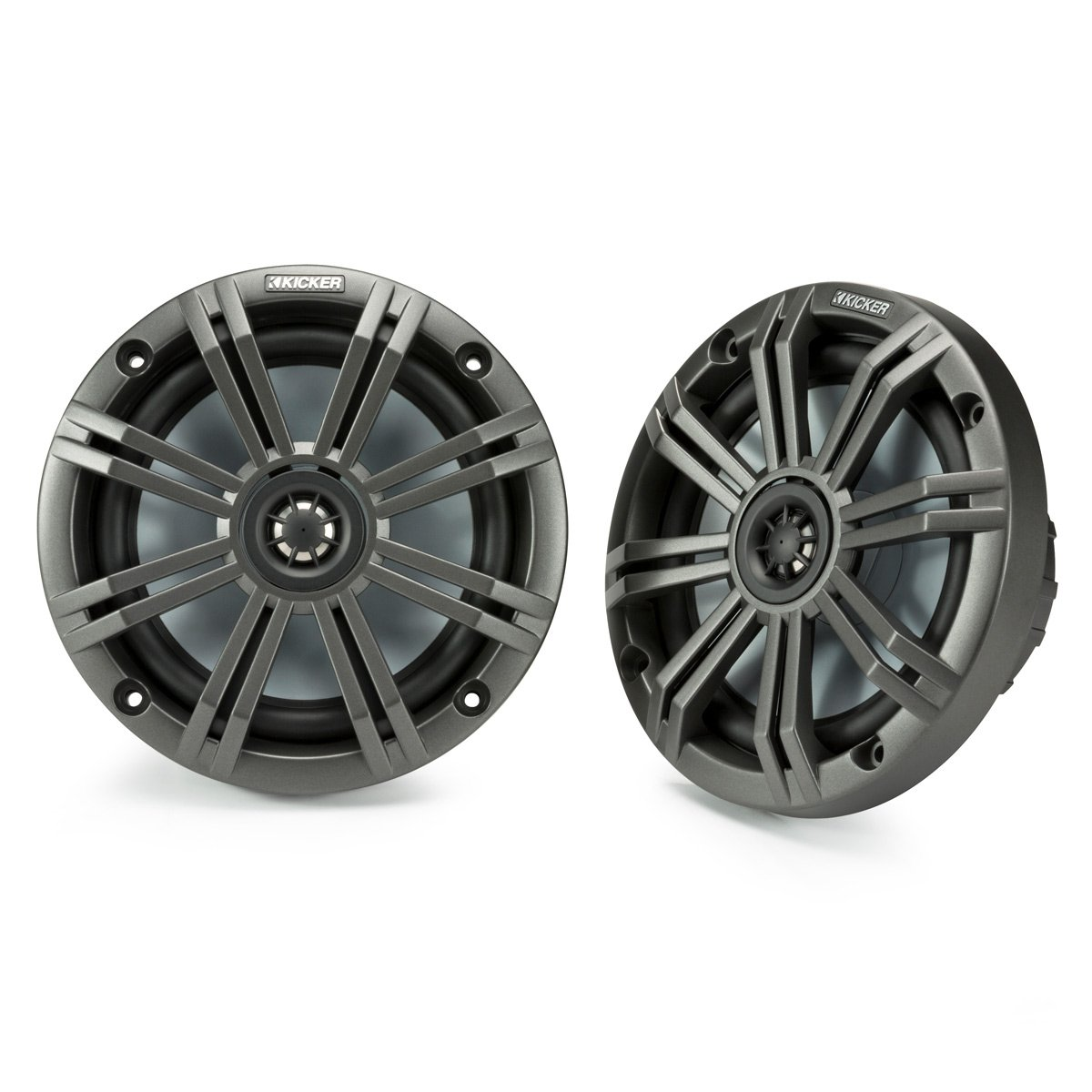 Kicker KM65 6.5-Inch (165mm) Marine Coaxial Speakers with 3/4-Inch (20mm) Tweeters, 4-Ohm, Charcoal and White Grilles by Kicker (Image #1)