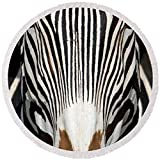 Pixels Round Beach Towel With Tassels featuring ''Greveys Zebra, Samburu National'' by Pixels