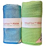 Best Glass Cleaning and Polishing Microfiber Combo Pack for Windows & Mirrors: Super Absorbent Waffle Weave Glass Cloth + Amazing Finish Cloth for a Perfect Shine - 1 each