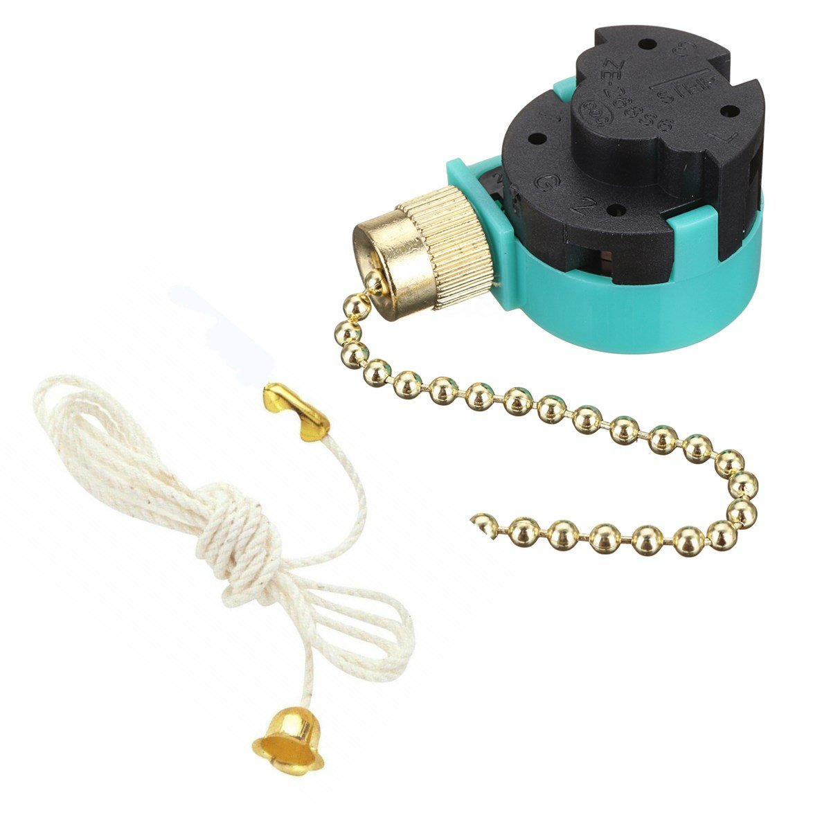 Ceiling Fan Switch E-268S6 with Rope, Wall light Rotary Pull Chain cord Switch 3 Speed Pull Chain Control Replacement Speed Control 4 Wire Switch for Ceiling Fans, Lamps by Aoprofree (Brass)