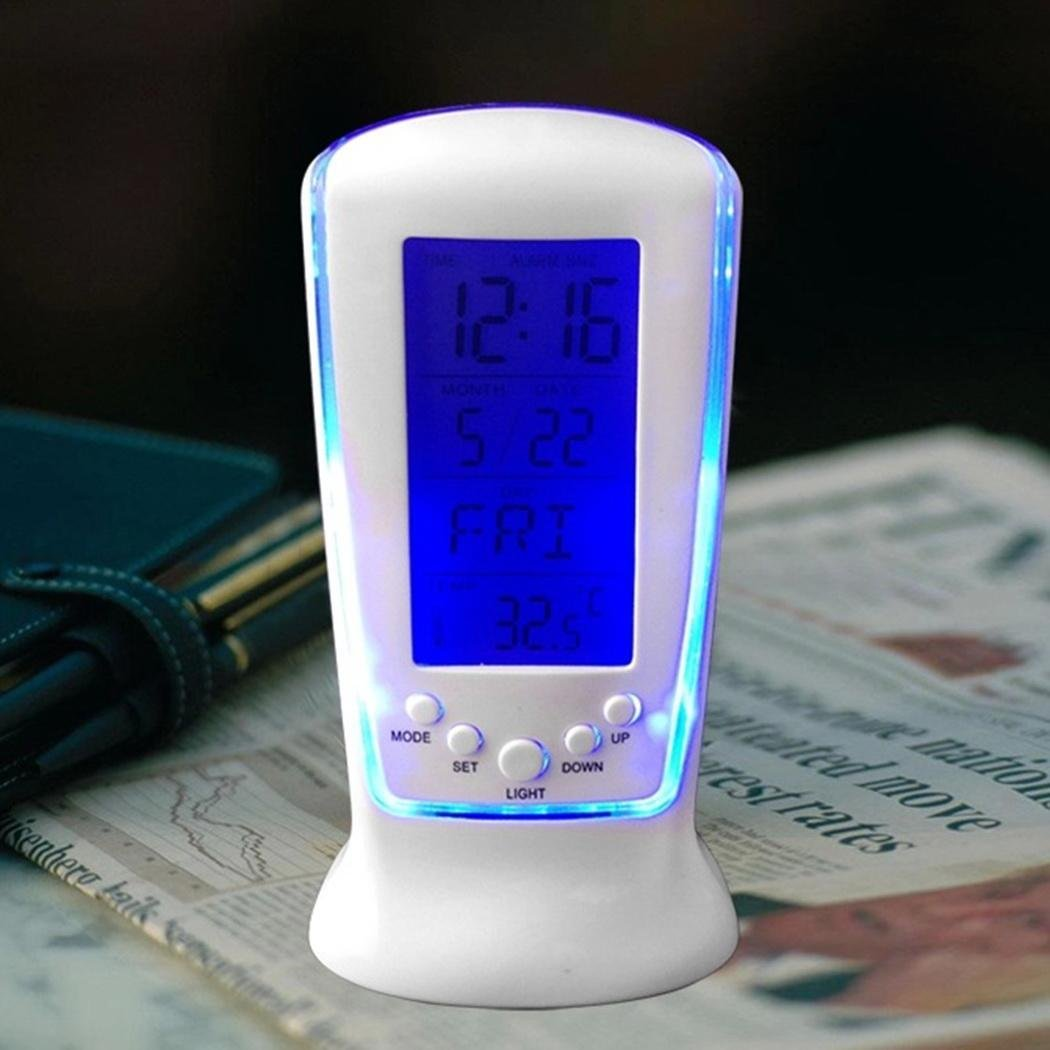 Fashion Mini LED Luminous Music Creative Lazy Simple to Operate Electronic Alarm Clock with Smart Thermometer [Wholesale Available]