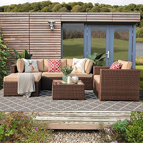 Patiorama 6 Piece Outdoor Conversation Set, All Weather Wicker Patio Sectional Sofa Set with Corner Sofa Chair Ottoman Table, Beige ()
