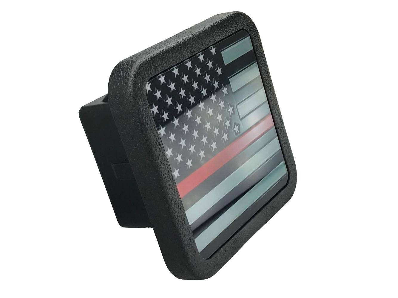 USA アメリカ国旗 トレーラー ヒッチカバー チューブプラグインサート (2インチのレシーバーに対応) B06XHGWZ6B ブラック&ホワイト ブラック&ホワイト