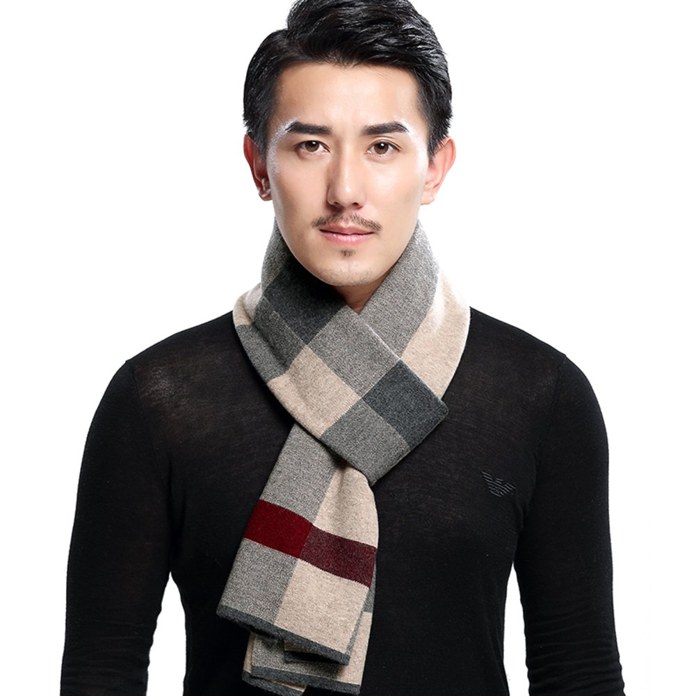 men's Plaid scarf Thick warm long scarf student wild wool scarf-A One Size