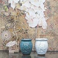 Set of 2 Embossed Ceramic Plant Pots with Drainage | Flower Vases Home Decor | Succulent Cactus Herb Planters
