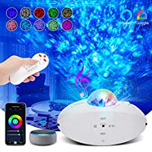 Star Projector, Night Light Projector Works with Alexa & Google Assistant, Galaxy Projector with Smart WiFi APP Control, LED Star Projector with Voice Control, Bluetooth Speaker, Remote Control & Timer, Ocean Wave Projector Perfect for Home, Party, Kids Room Decorations
