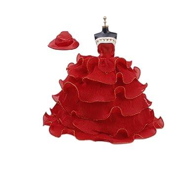 Vestido de fiesta para muñeca BARBIE con Sombrero