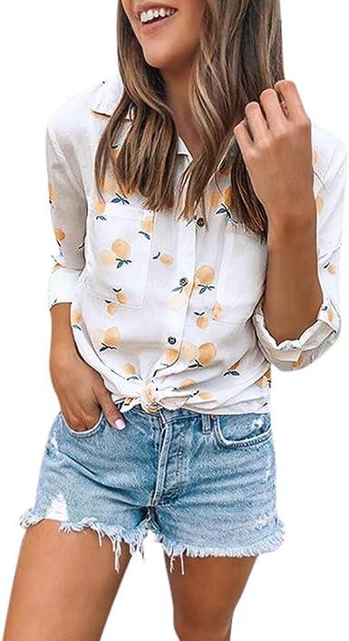 Camisa Larga Mujer Tops Deportivos Fiesta Sexy Americana Nueva Camiseta Manga con Estampado Frutas Y Bolsillo: Amazon.es: Ropa y accesorios