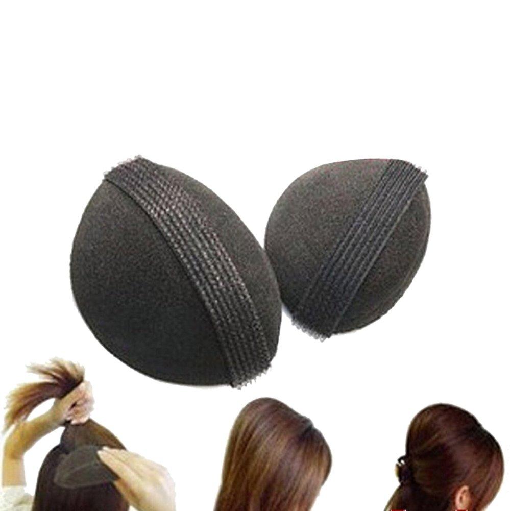 hugestore Lot de 2cheveux Coussin cheveux volume Coussin Coussin en mousse Volume avec bande Velcro Coiffure aide