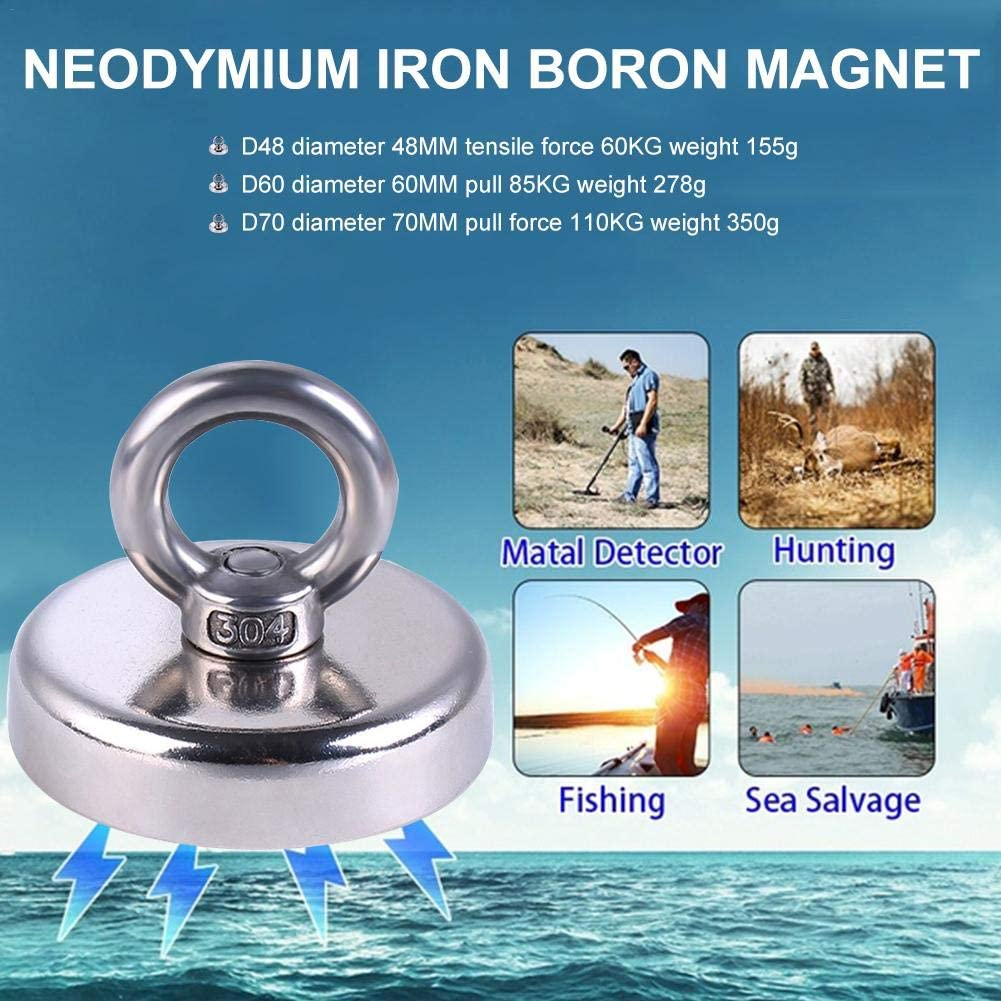 hinffinity Neodymium Magnet Super Strong Fishing Magnet with Countersunk Hole and Eyebolt 20M Rope Pulling Force 110Kg Great for Salvage Or Magnetic Fishing