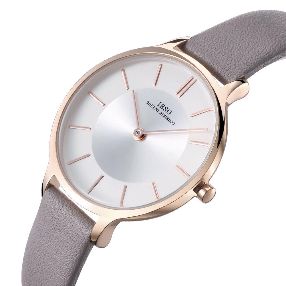 Women Leather Strap Round Watch Fashion Simple Ultra-Thin Quartz Analog Ladies Elegant Wristwatch (6608 Grey)