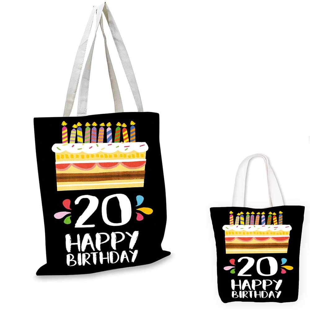 20th Birthday canvas messenger bag Happy Birthday for 20 Years Old Worn Grunge Style Stamp Monochrome Image travel shopping bag Black and White 16x18-13