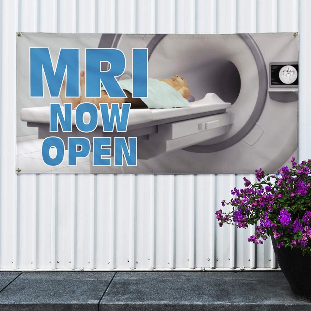 Vinyl Banner Sign MRI Now Open Business MRI Now Outdoor Marketing Advertising Grey 28inx70in Multiple Sizes Available 4 Grommets Set of 2