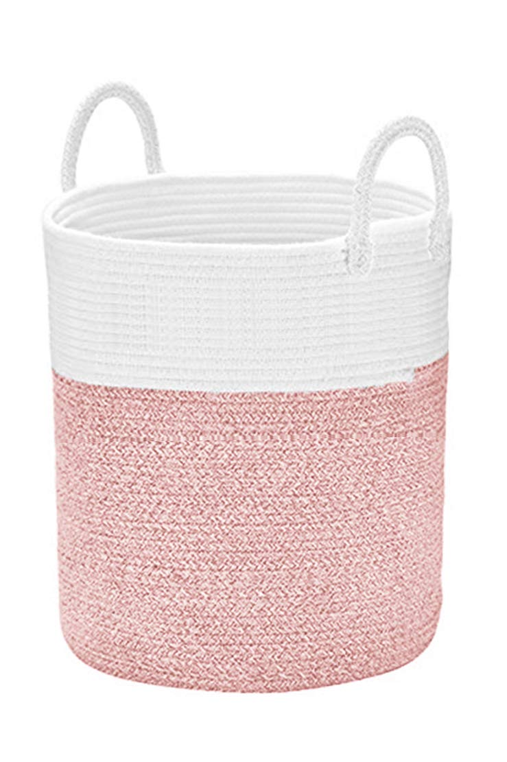 "Spmor XXX-Large Storage Baskets Cotton Rope Basket Woven Baby Laundry Basket Sofa Throws Pillows Towels Toys or Nursery Cotton Rope Organizer Laundry Hamper with Handles 20""x15.7""x15.7"" Pink"