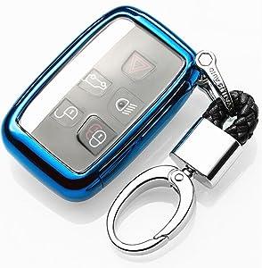 YUWATON Car Key Cover Key Case Car Remote Control Cover for Range Rover Velar Evoque Key Cover Key Case Key Fob (Blue)