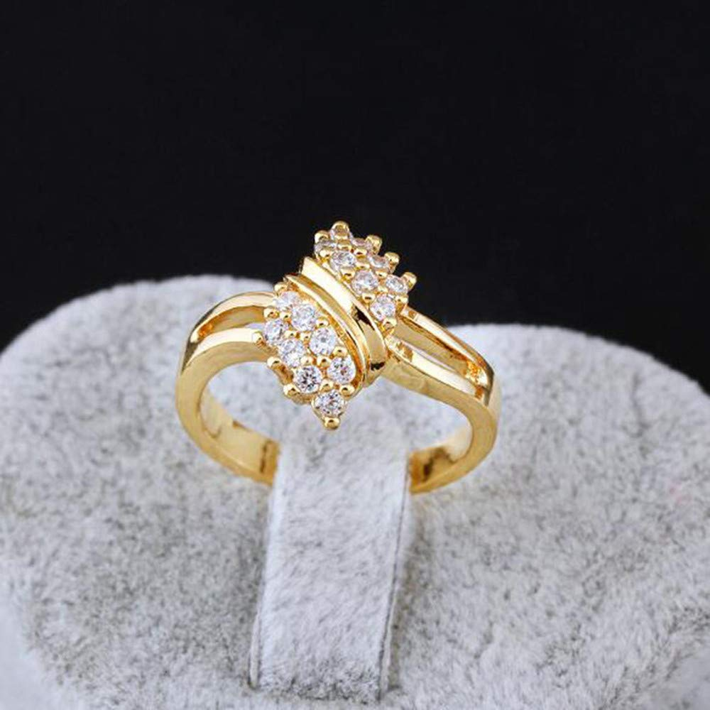 Nmch Women Zircon Rings Fashion Creative Gold Simple Finger Rings A Birthday Present Gift Size 6//7//8//9