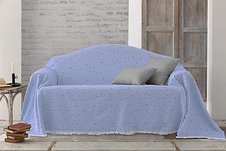 HIPERMANTA Colcha Foulard Multiusos Jacquard Modelo Estrellas para sofá y para Cama, Algodón-Poliéster, 2 plazas. Azul Claro.