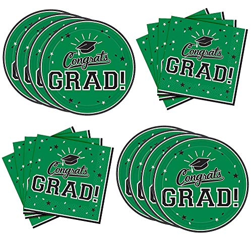 White Graduation Lunch Napkins - Party City Green Congrats Grad Graduation Lunch Supplies for 18 Guests, Large Paper Plates and Napkins for Easy Cleanup