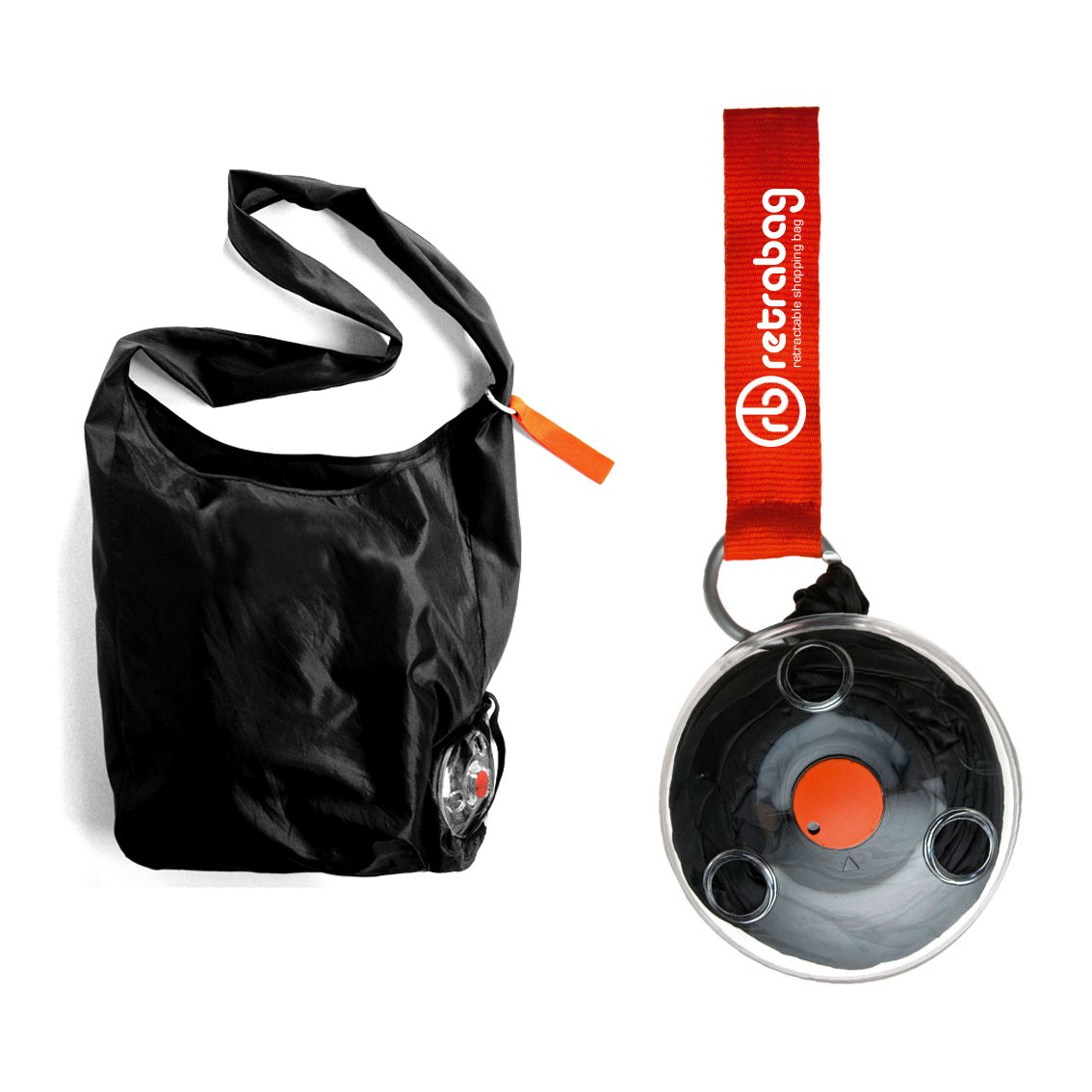 Retrabag Retractable Reusable Grocery Shopping Eco-friendly Tote Bag with Carabiner by Retrabag B016NX0OB2