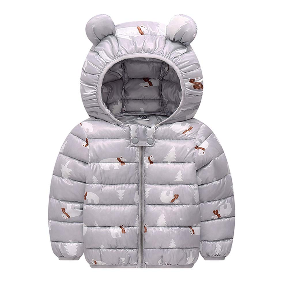 12M-4T Boys Girl Children Winter Clothing Set Coats Jacket Kids Zip Thick Ears Snow Hoodie Clothes Outfits Outwear