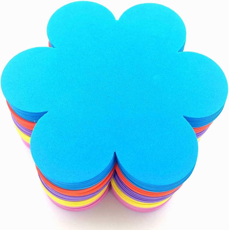 MBJelir EVA Foam Flower Shape DIY Craft Set for Valentine/Mother's Day, 5 Colors(Pink, Orange, Purple,Blue, Yellow )-6 inch 35PCS
