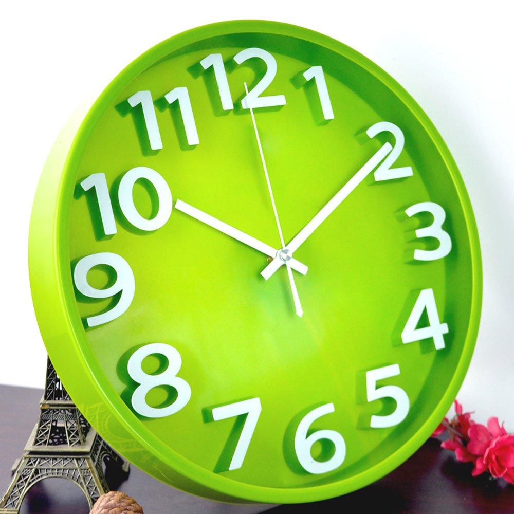 Platin Morgen 12 Zoll Silent Uhren der 3-dimensionalen Mode Kreative Wanduhr aufhängen im Wohnzimmer Tisch Quarzuhrwerk Einfache, Moderne, 12 Zoll (30,5 cm) Durchmesser, 30cm Grün
