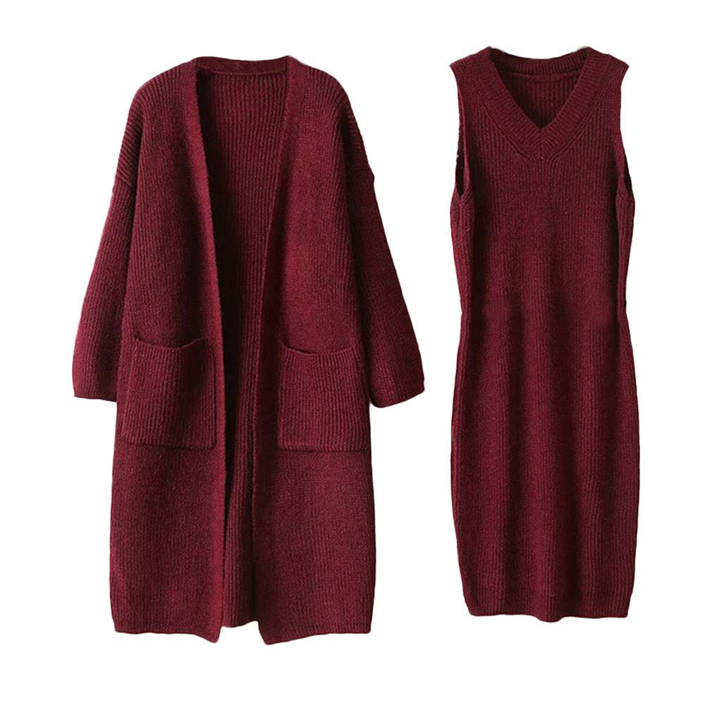 Kanhan Women Winter Long Sleeve V-Neck Knit Sweater Dress+Coat 2-Piece Set w/Belt