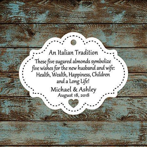 Personalized Jordan Almond Tags, Sugared Almond Tags, Italian or Greek Wedding Reception Favor Tags, Qty: 30 Tags #613 (Personalized Jordan Almonds)