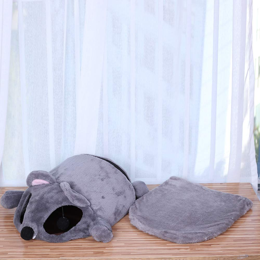 Hianiquaime Cama para Gato Forma de Rata Lindo Grueso C/álido y a Prueba de Viento Casa Casita Caseta Nido Cojine Bolsa de Dormir Amovible para Rat/ón Gato Perro y Animale Peque/ño Gris