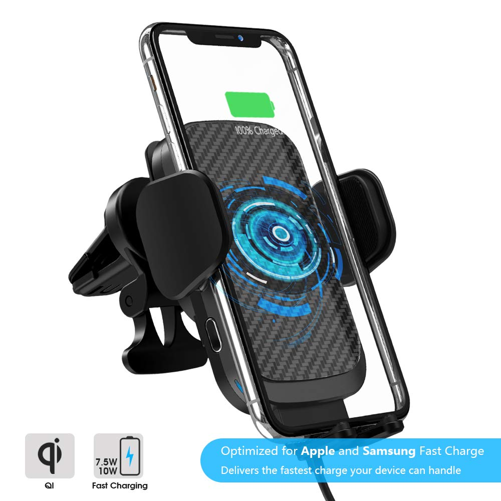 Automatic Clamping 10W//7.5W Fast Charging Air Vent for Car Compatible iPhone 11//11 Pro//11 Pro Max//Xs MAX//XS//XR//X//8//8+,Samsung S10//S10+//S9//S9+//S8//LG V30//etc ZOOAUX Fast Wireless Car Charger Vent Mount