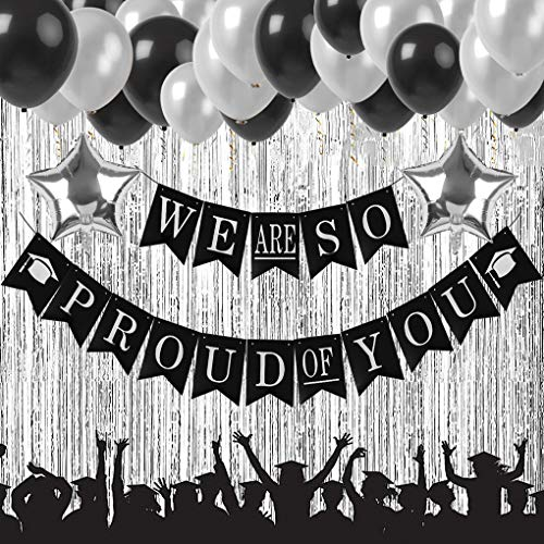 2019 Graduation Party Supplies Decorations, We Are So Proud of You Banner, Black and Silver Graduation Party Supplies Kit with Latex Balloons, Star Foil Balloons and Gold Curtain -