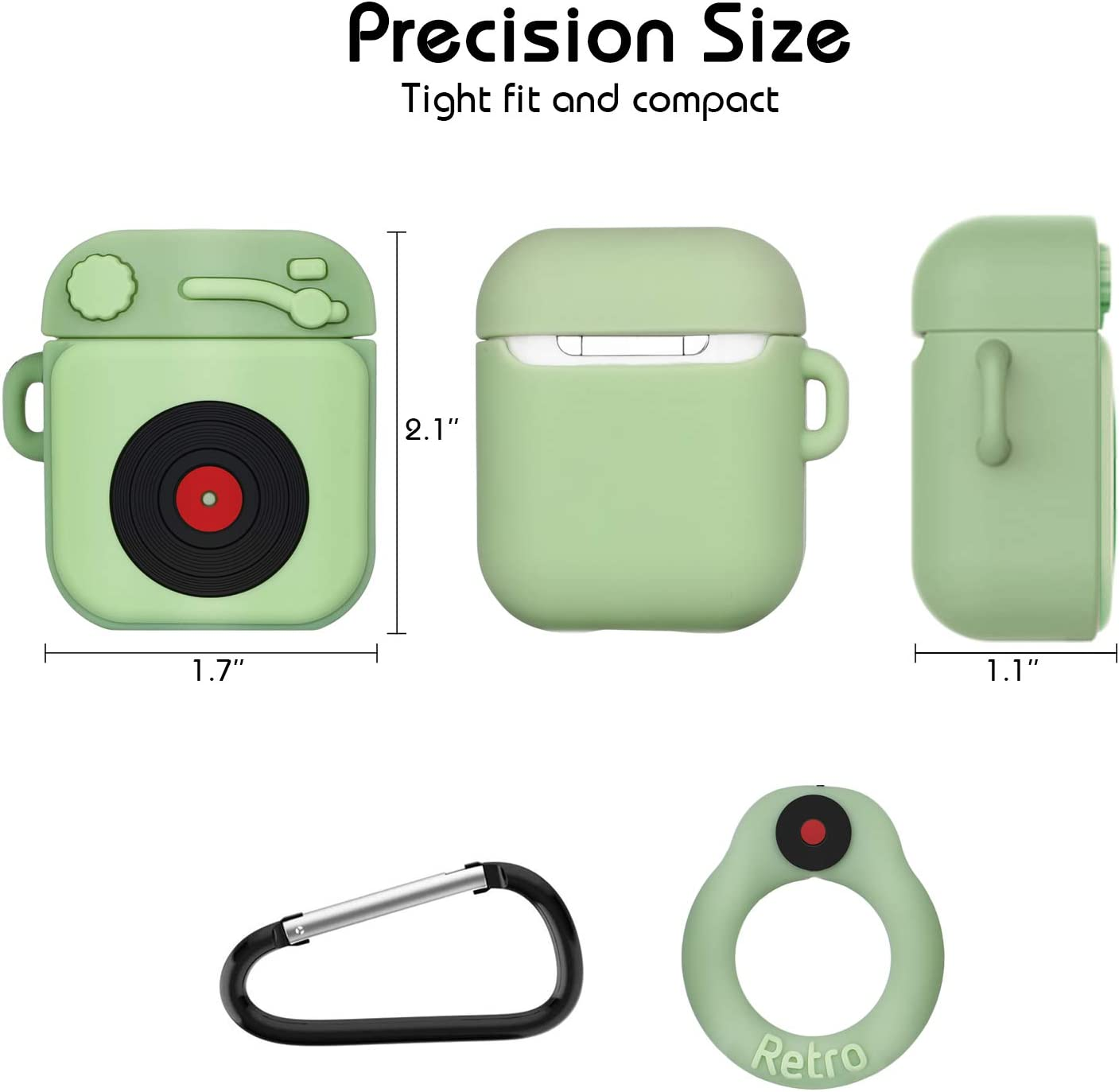 AirPods Case,MXTOY Protective Silicone Funny Cover Compatible with Apple Airpods 1/&2,Designed for Kids Girls and Boys 3D Phonograph Cartoon Pattern -Light Green 1 Pack