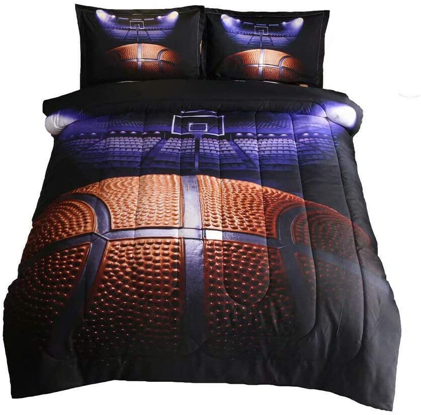 Enman-Home Basketball Court Comforter Set for Boys Men Teen-Boys Sports Fans Quilt Bedding Set Full Size (Basketball-2)