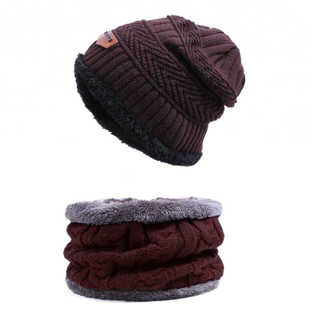 Winter Hat Knitting Hat Scarf Set Warm Wool Cap Scarves Winter Outdoor Accessories